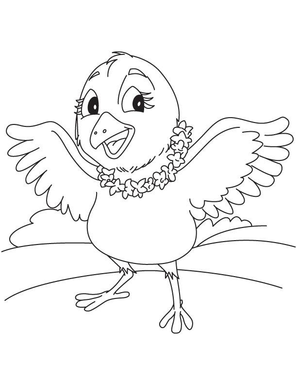 Bird wearing jasmine garland
