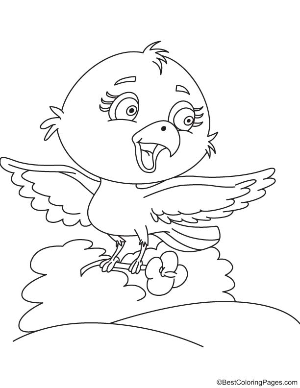 Bird with nasturtium coloring page