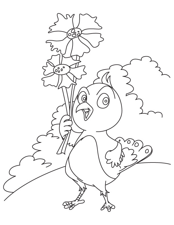 Birdy cornflower coloring page