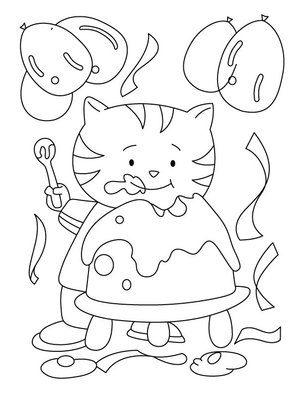 birthday cat coloring pages - photo#7