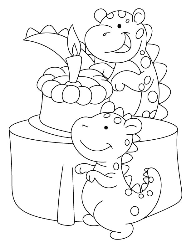 Dinosaur celebrating his birthday coloring pages – Birthday Coloring Cards