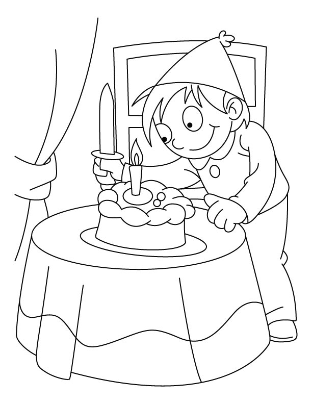 A boy cutting his birthday cake coloring pages Download Free A
