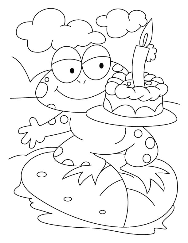 A frog with cake coloring pages