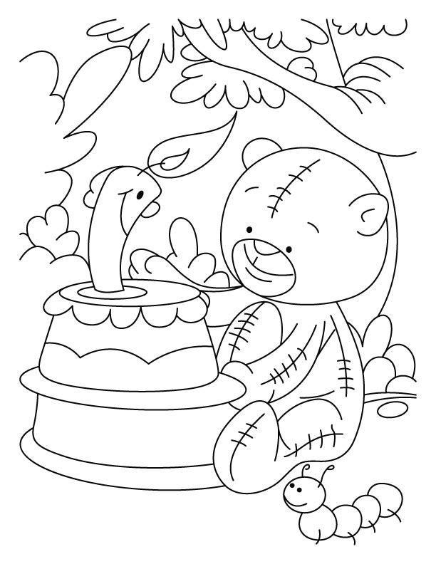 Candle smiling on teddy bears birthday coloring pages