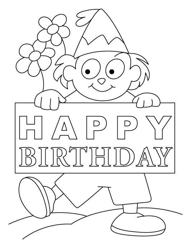 Happy bday flower coloring page