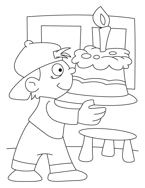 A boy holding a birthday cake coloring pages