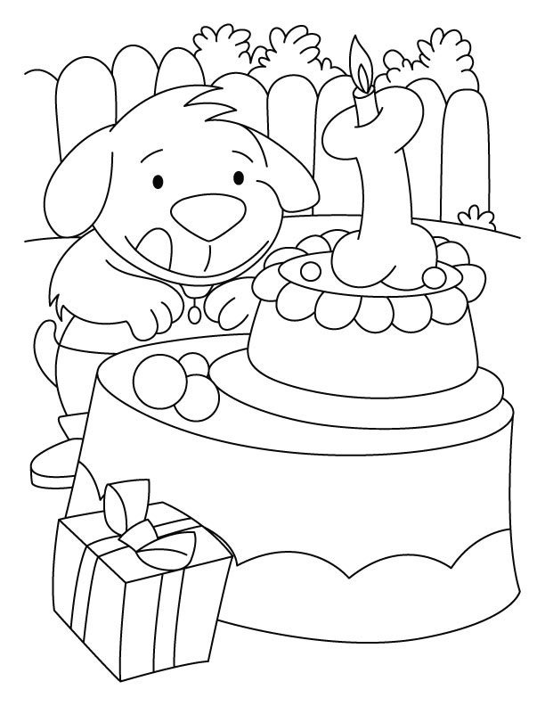 A puppy with the birthday cake coloring pages Download Free A