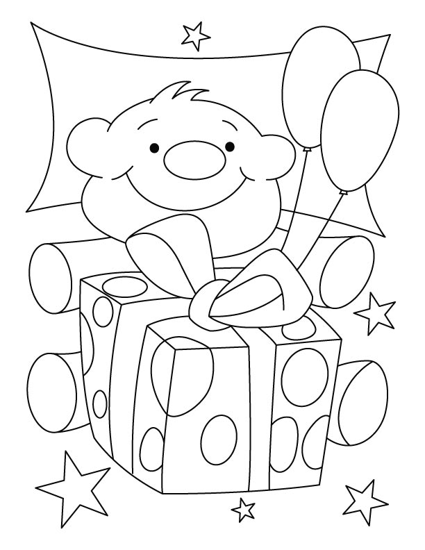 A cute teddy bear with birthday gift coloring pages