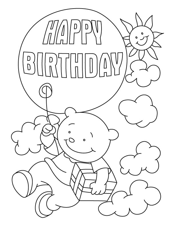 Flying With A Birthday Balloon Coloring Pages