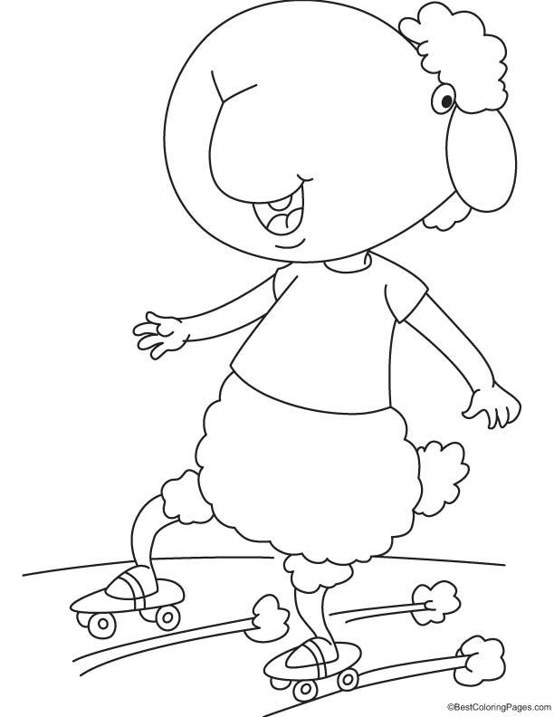 Black sheep skating coloring page