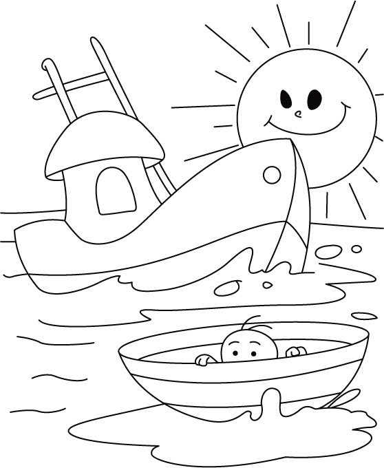 nautical coloring pages - an infant in a boat coloring page download free an