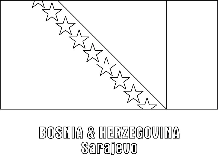 Bosnia And Herzegovina Flag Coloring Page