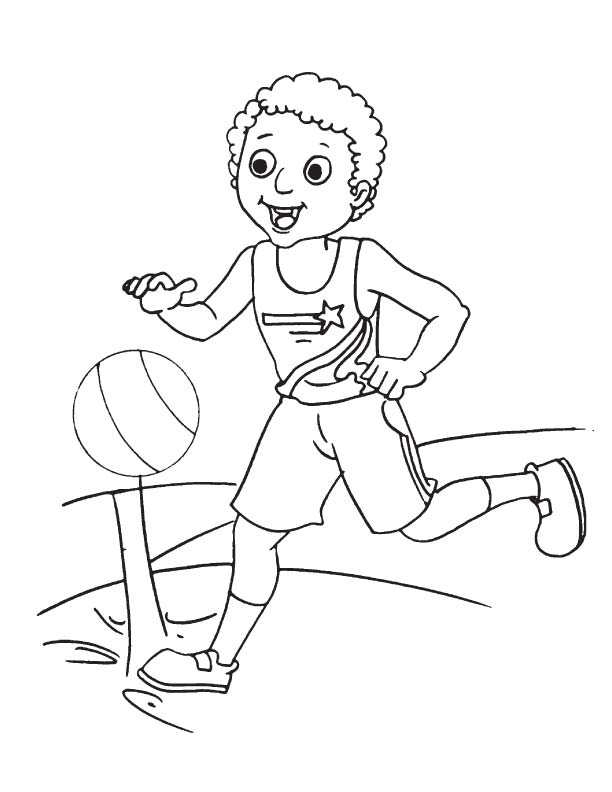 Bouncing basketball coloring page