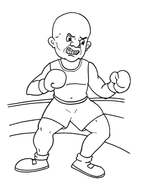 Boxing throw a punch coloring page