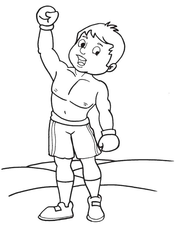 Boxing winner coloring page