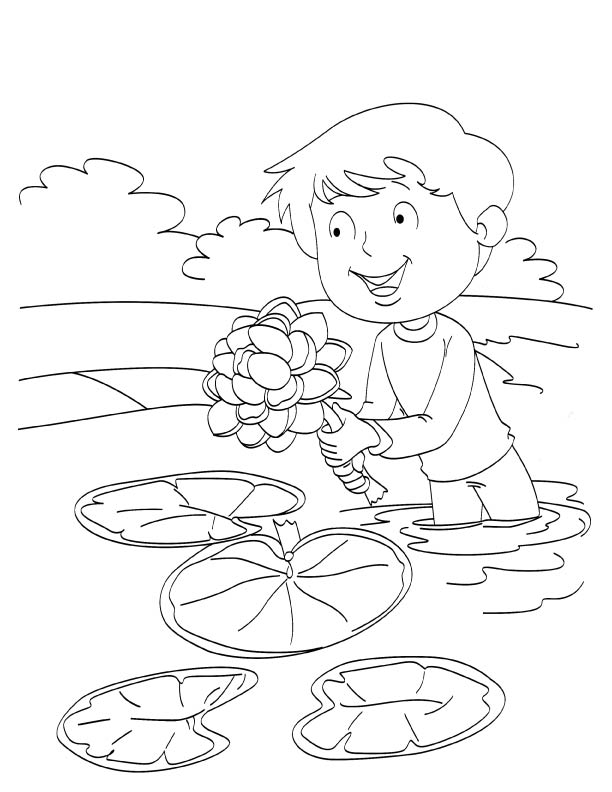 Boy offering lotus coloring page