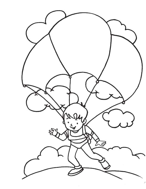 Free Coloring Pages Of A Parachute Parachute Coloring Pages