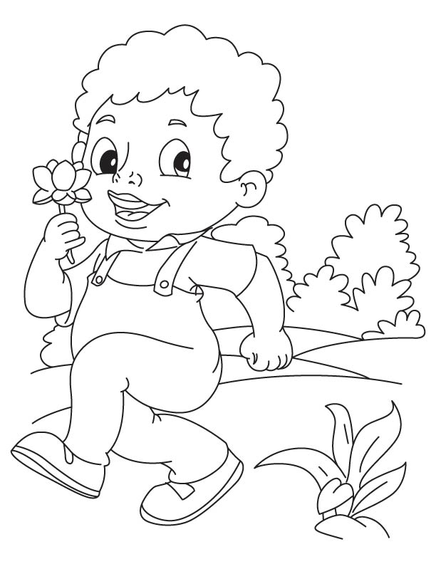 Boy Plucked A Lotus Coloring Page