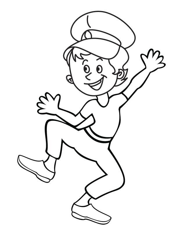 Boy singing in joyful noise coloring page