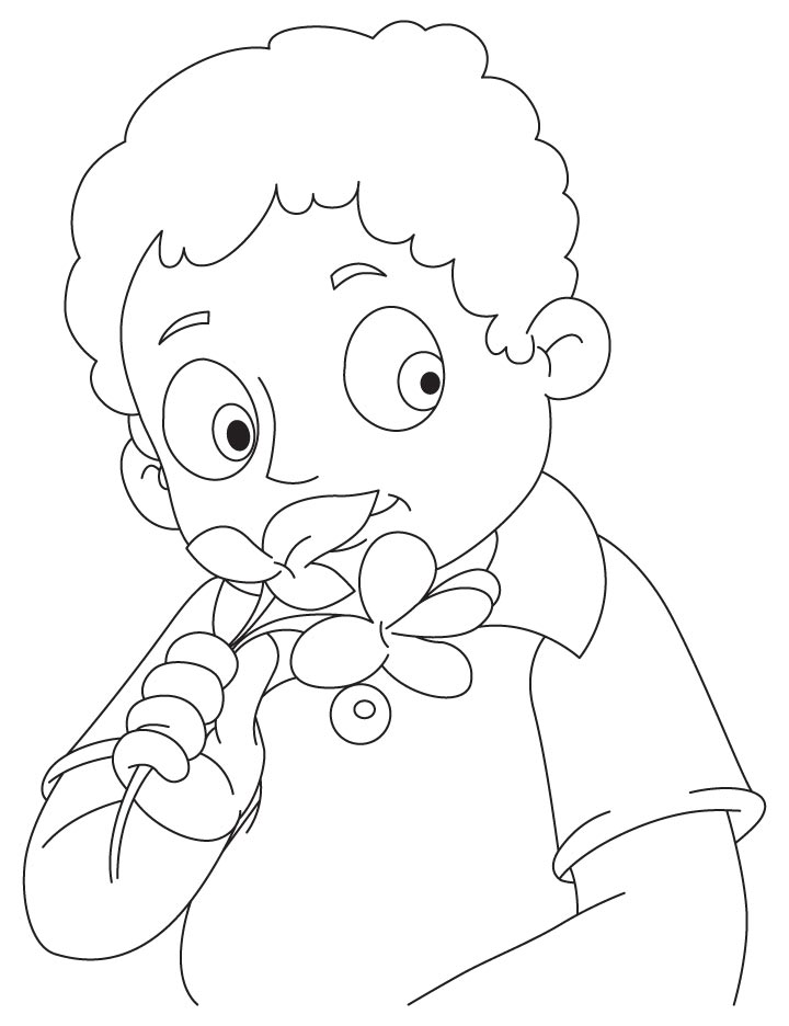 boy smelling canna coloring page