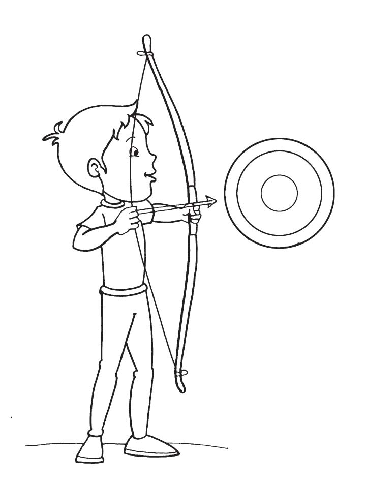 Boy Targets An Arrow Coloring Page Download Free Boy