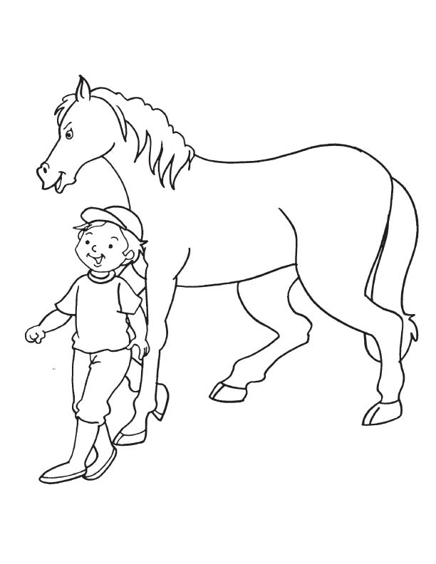 Boy walking with horse coloring