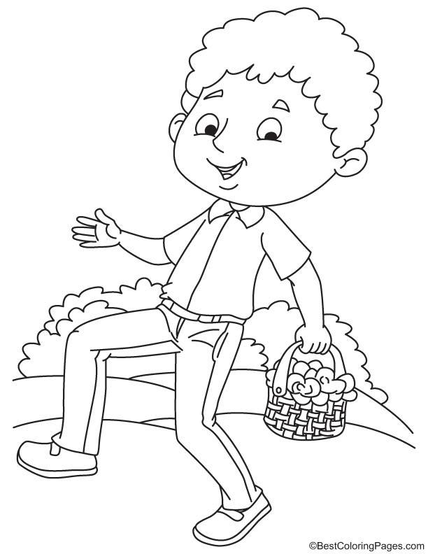 Boy walking with nasturtium coloring page