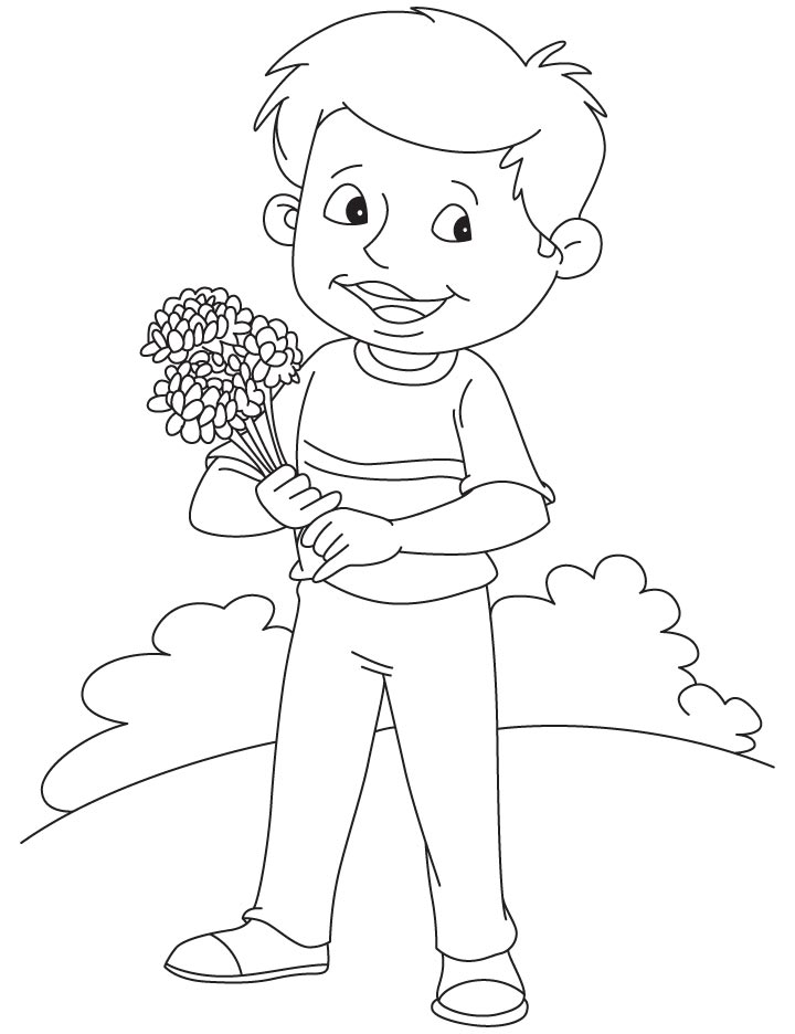 Boy with chrysanthemum coloring page | Download Free Boy with ...