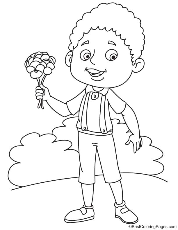 Boy with pansy coloring page