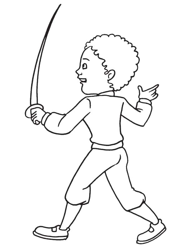 Boy with small sword coloring page
