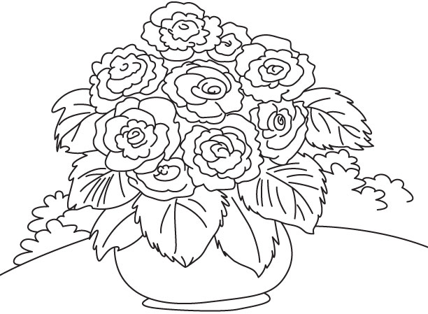 Bright colorful flowers coloring page