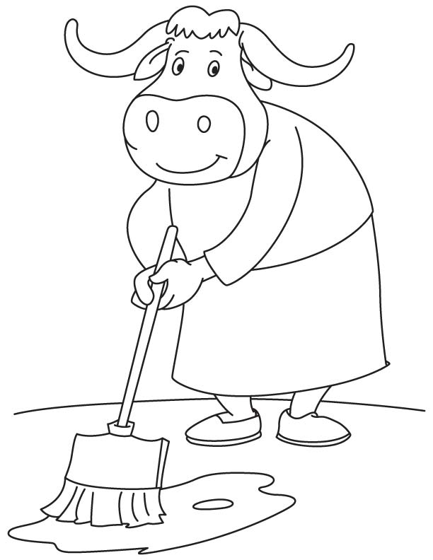 bull mopping coloring page download free bull mopping