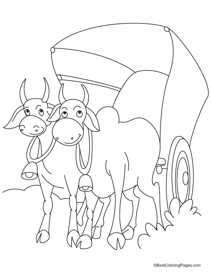 The cart harnessed by two bulls coloring pages | Download Free The ...