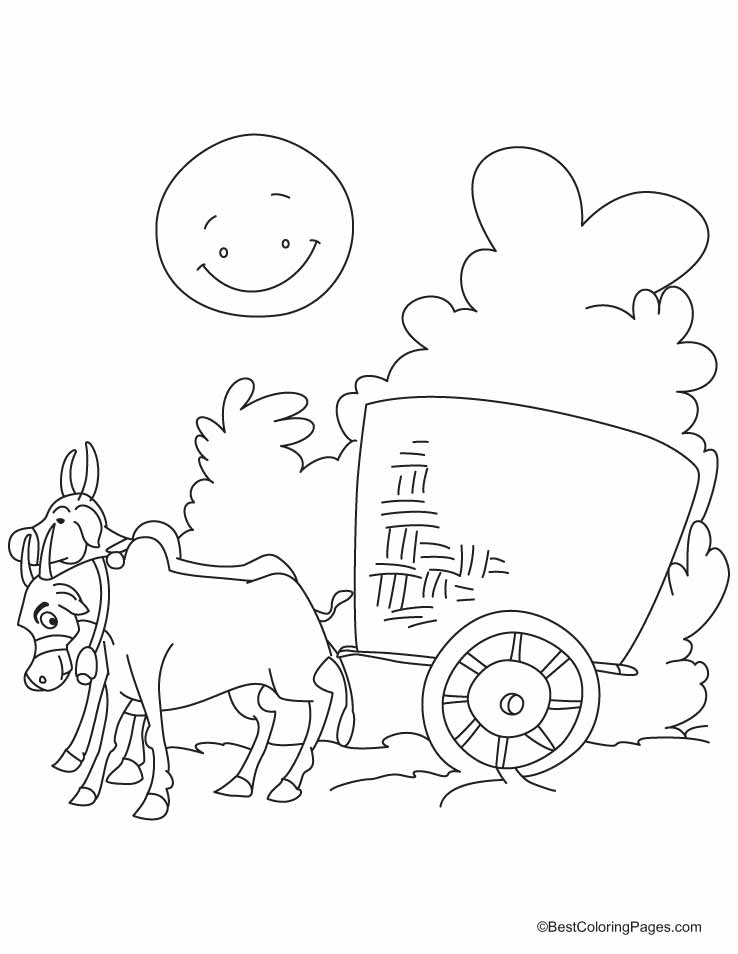 Bullock Cart In The Village Road Coloring Pages Download