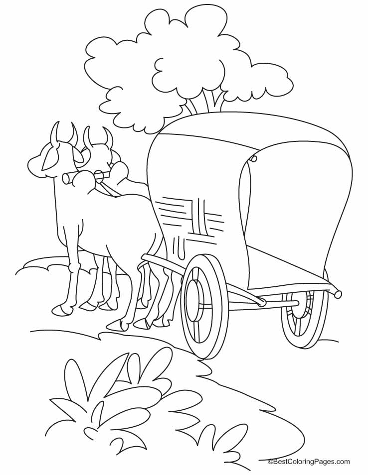Bullock cart standing on the road coloring pages Download Free