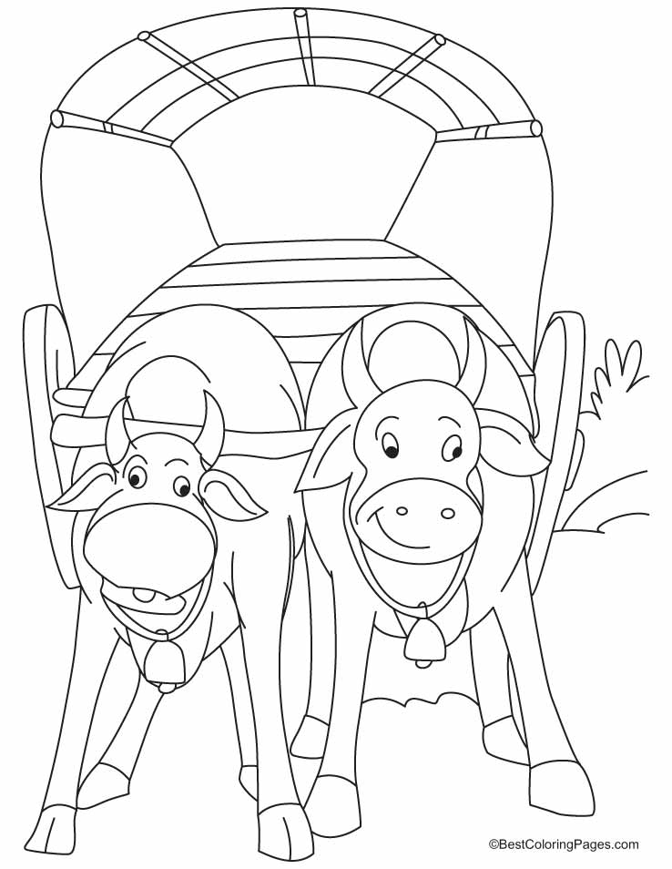Bullock Cart Coloring Pages