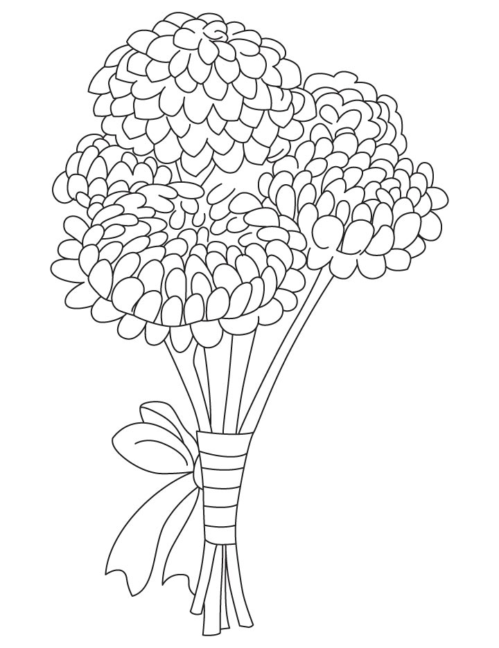 Bunch of chrysanthemum coloring page