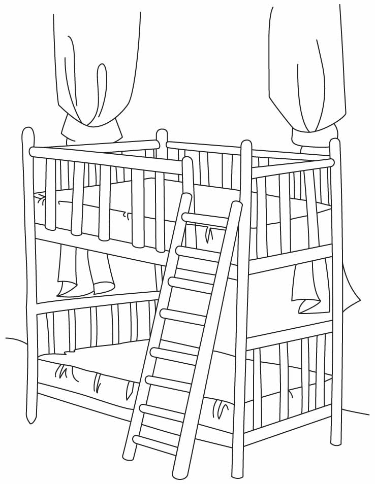 Bunk bed with stair coloring pages Download Free Bunk bed with