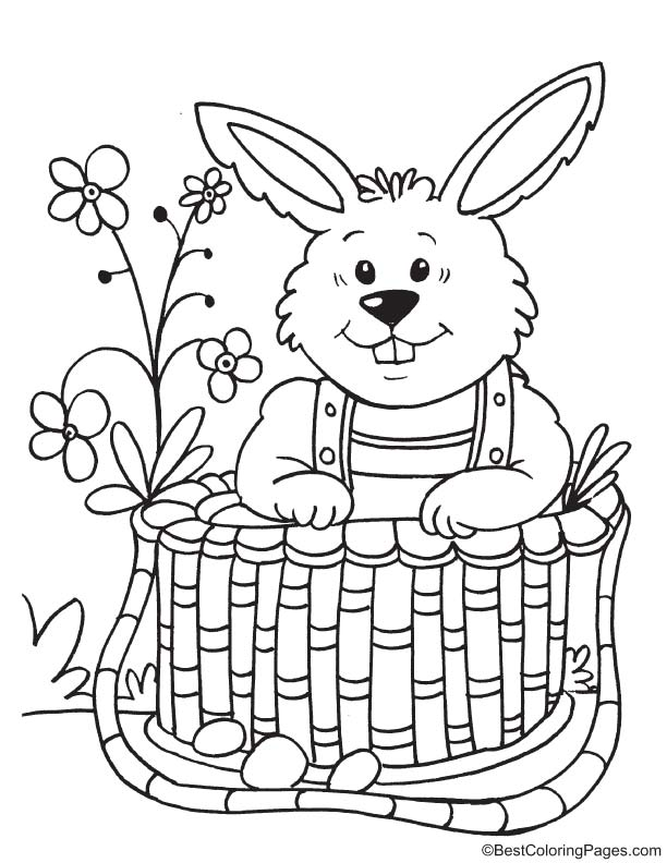 Bunny in the basket coloring page