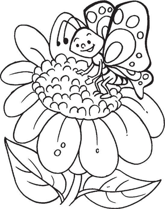 butterfly n sunflower true friends under the sky coloring pages - Sunflower Coloring Pages Print