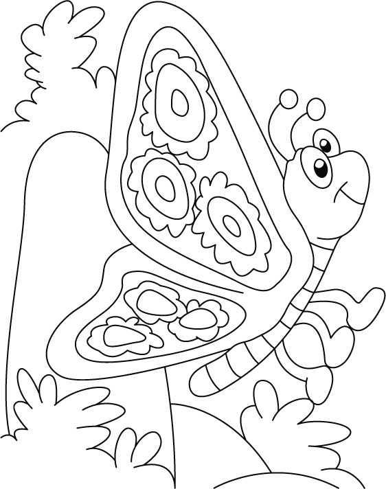 Butterfly thinking something coloring pages