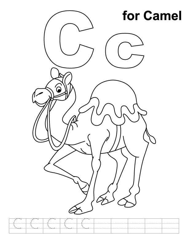 C for camel coloring page with handwriting practice Download