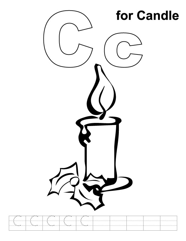 c for candle coloring page with handwriting practice