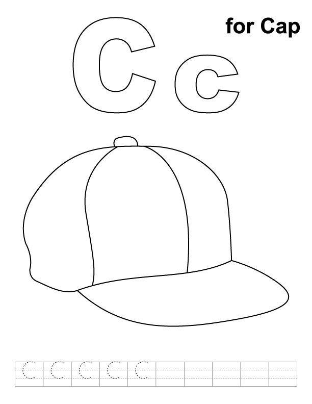 C for cap coloring page with handwriting practice