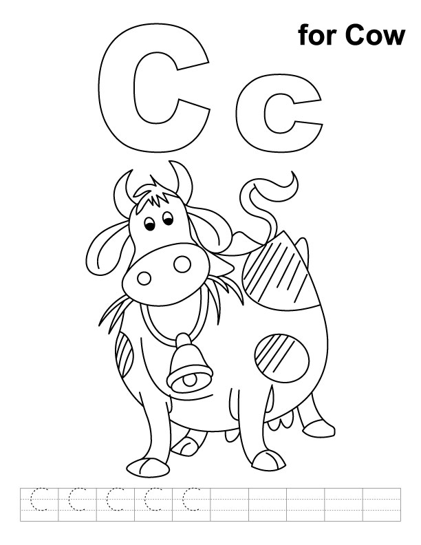 C for cow coloring page with handwriting practice Download Free