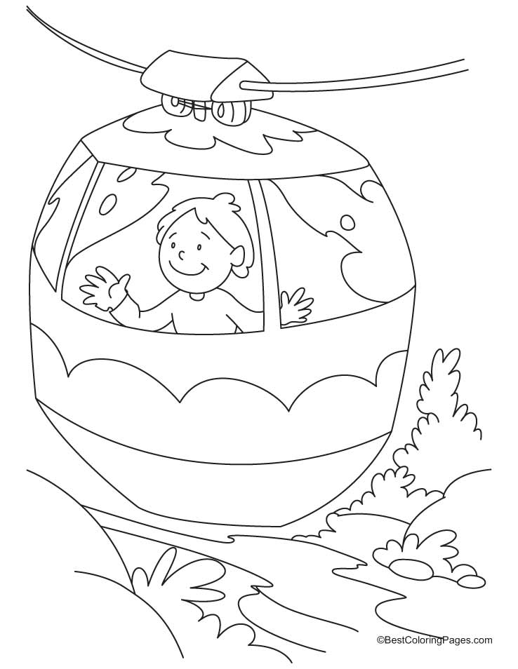 A Boy Enjoying Ride In Cable Car Coloring Pages