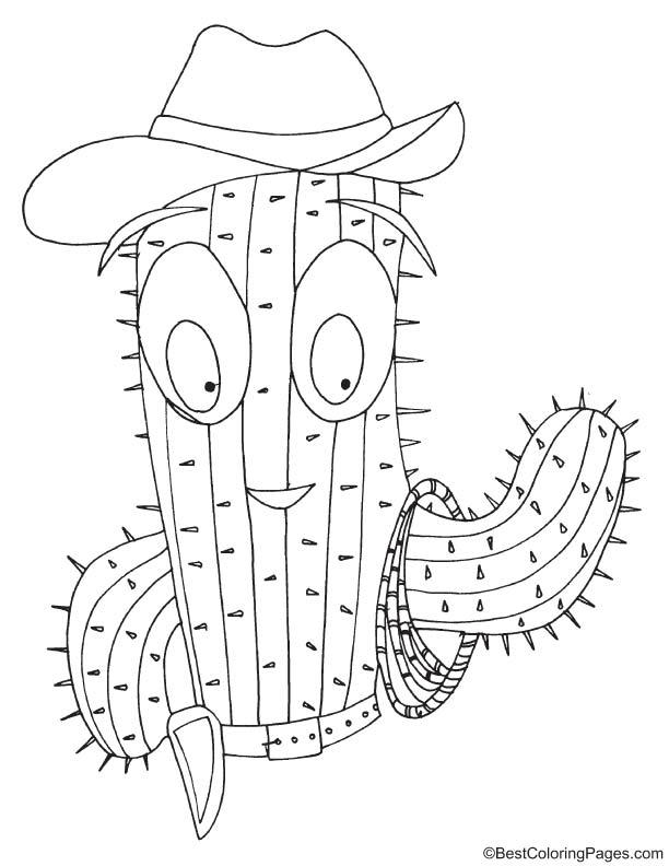 Cactus cowboy coloring page