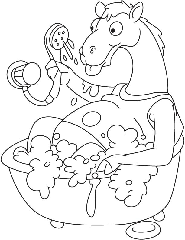 Camel bathing in tub coloring page