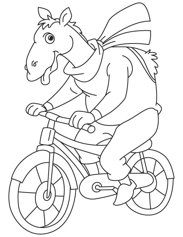 Camel cycling coloring page