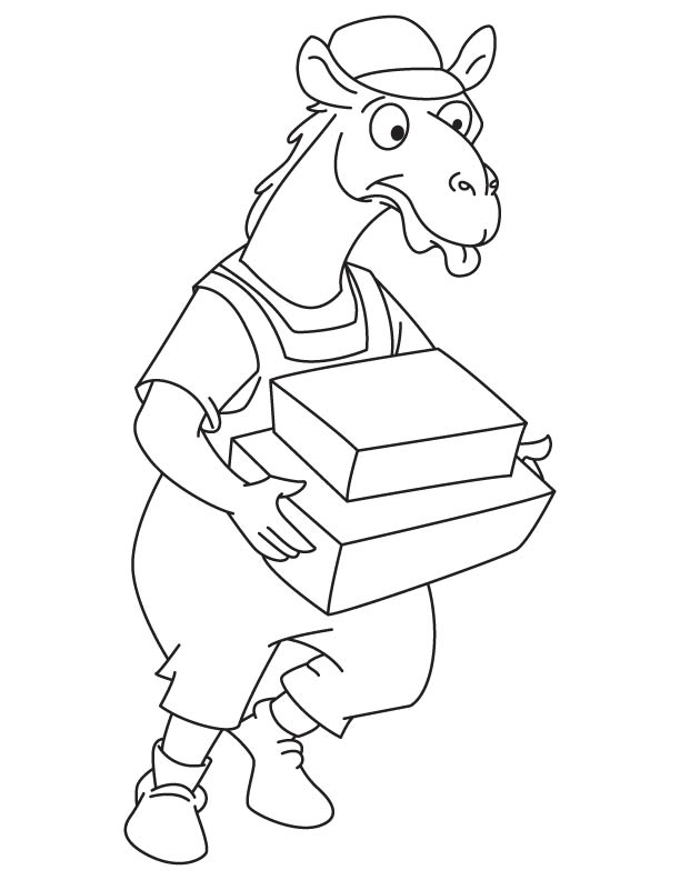 Camel delivers the packet coloring page